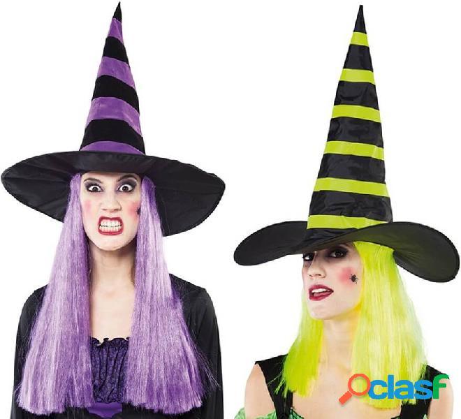 Cappello da strega con parrucca in vari colori 46 cm