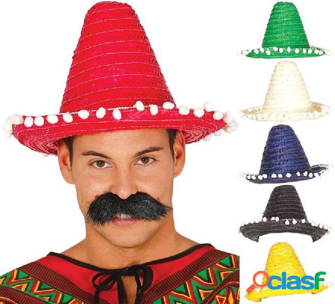 Cappello messicano con nappe in vari colori di 33 cm