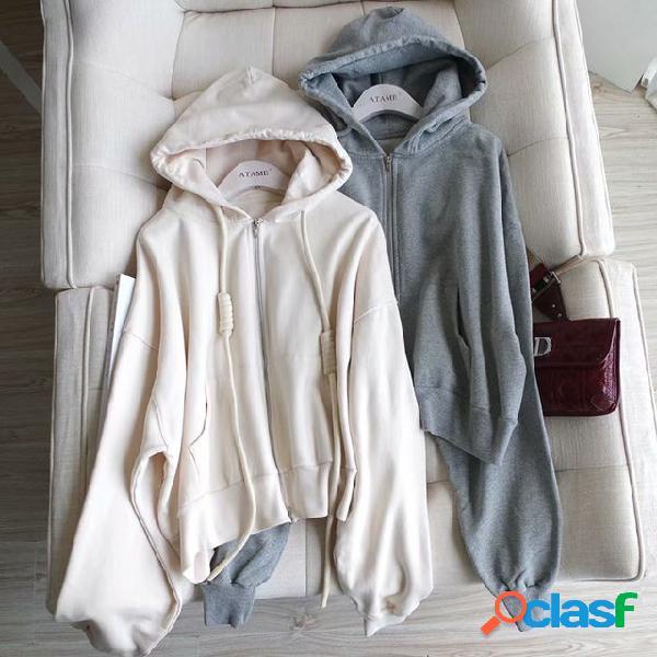 Cappotto maglione con cappuccio con cerniera tascabile