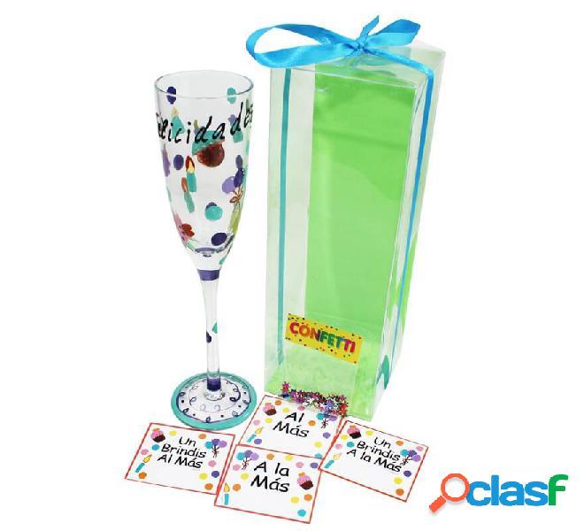 Complimenti tazza di vetro da 26 cm con confetti ed