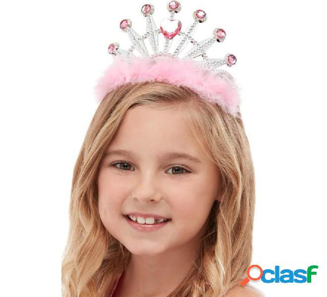 Corona da Principessa rosa con pelo e strass per bambina