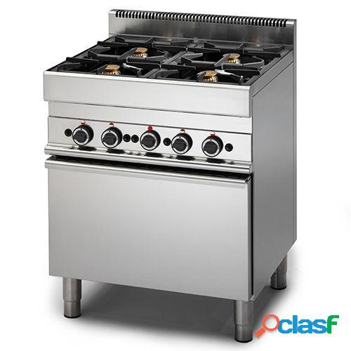 Cucina a gas con 4 fuochi, forno a gas, profondità 650 mm