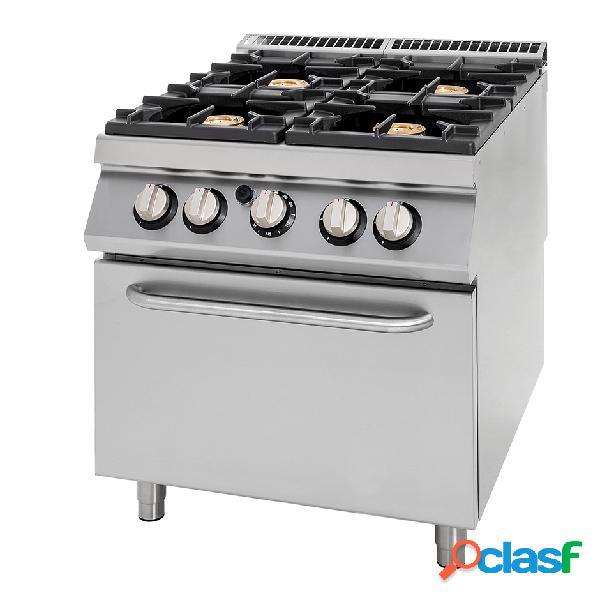 Cucina a gas con 4 fuochi, forno a gas, profondità 900 mm