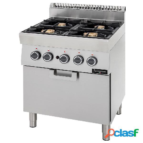 Cucina a gas con 4 fuochi, forno a gas statico, profondità