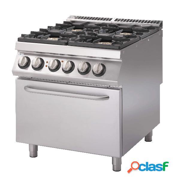 Cucina a gas con 4 fuochi, forno elettrico statico,