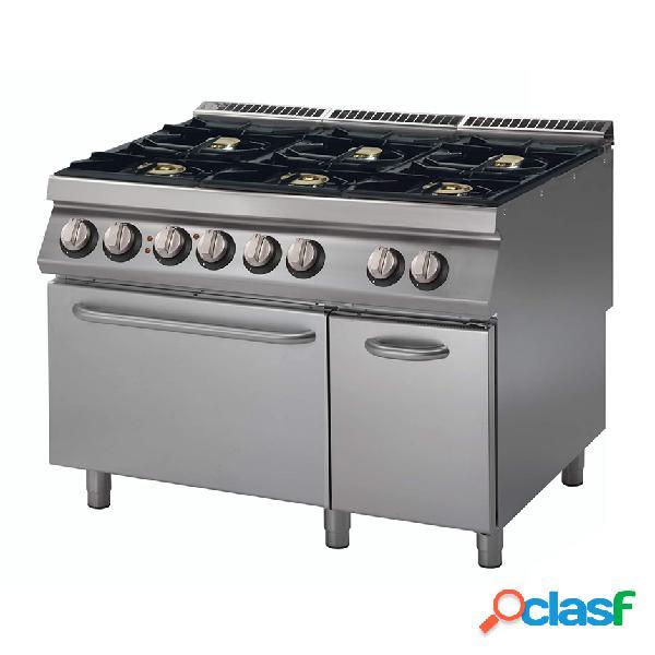 Cucina a gas con 6 fuochi, forno elettrico statico e armadio