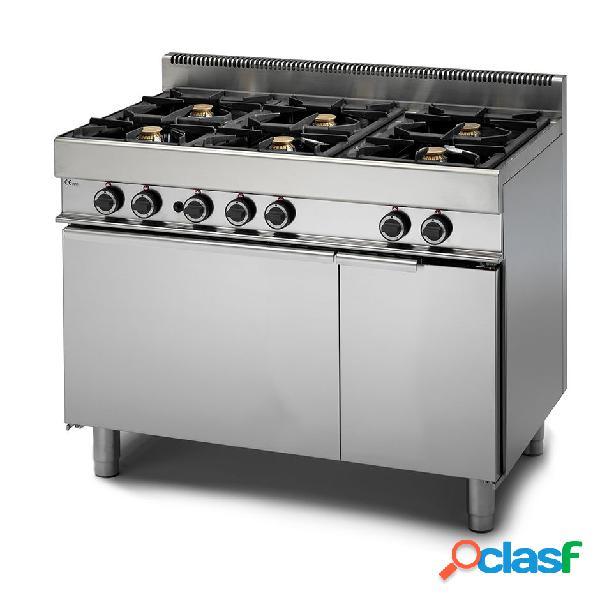 Cucina professionale 6 fuochi a gas con forno elettrico a