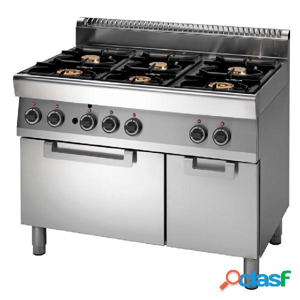 Cucina professionale 6 fuochi a gas, forno a gas e armadio