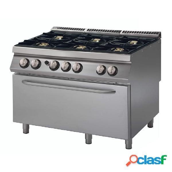 Cucina professionale 6 fuochi a gas, forno a gas maxi,