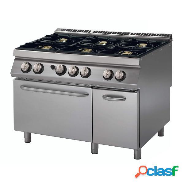 Cucina professionale a gas con 6 fuochi, forno a gas,