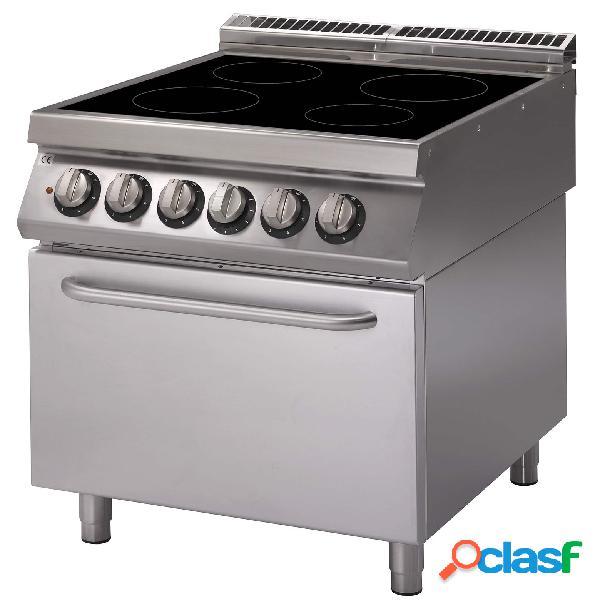 Cucina professionale elettrica con piano di cottura in