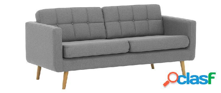 Divano scandinavo 3 posti in tessuto grigio chiaro e legno
