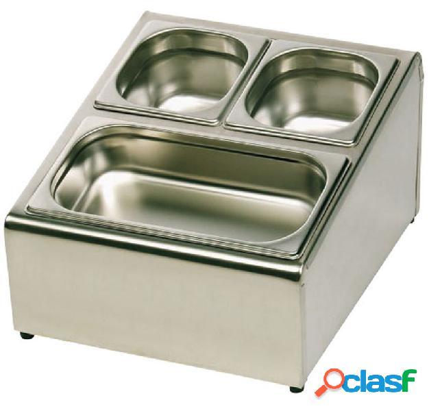Espositore gastronorm in acciaio inox predisposto per 4