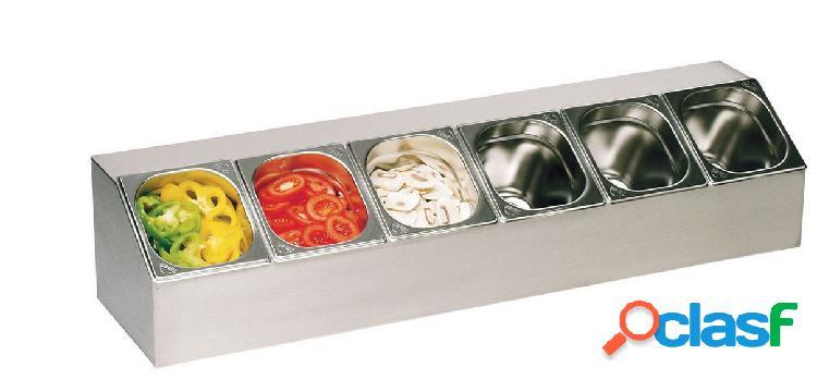 Espositore gastronorm in acciaio inox predisposto per 6
