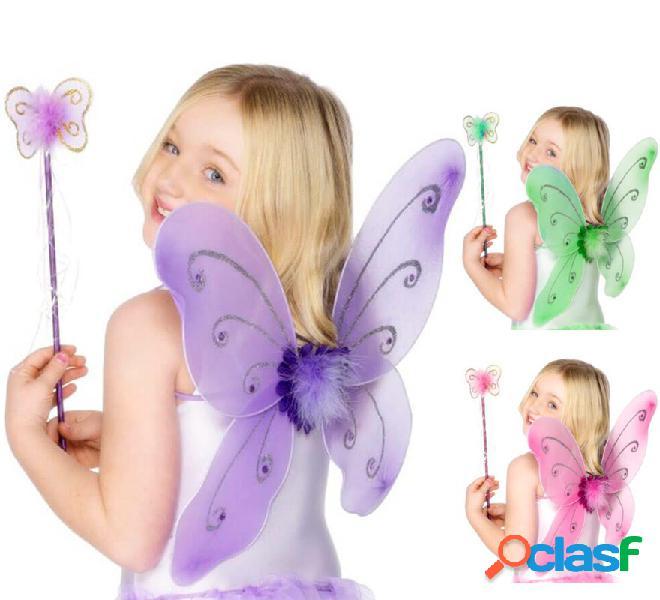 Fairy Kit per bambini in vari colori: ali di farfalla e