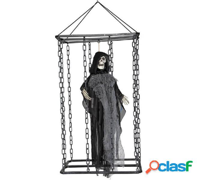 Fantasma grigio in gabbia con luce 70x33 cm