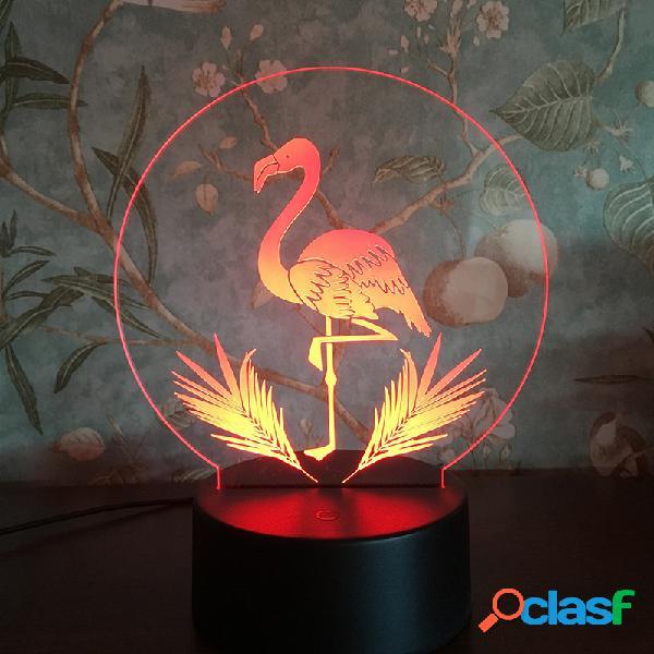 Flamingo 3D LED Night Lights USB Lampada da comodino
