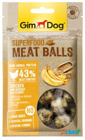 Gimdog snack per cani superfood meatballs gr 70 pollo banana