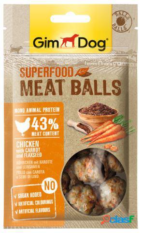 Gimdog snack per cani superfood meatballs gr 70 pollo carota