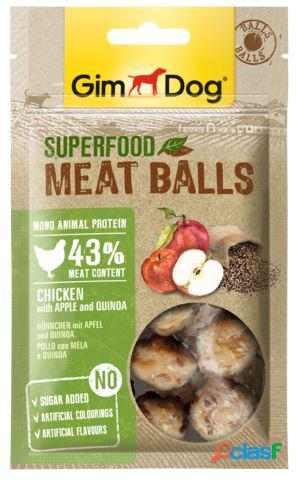 Gimdog snack per cani superfood meatballs gr 70 pollo mela e