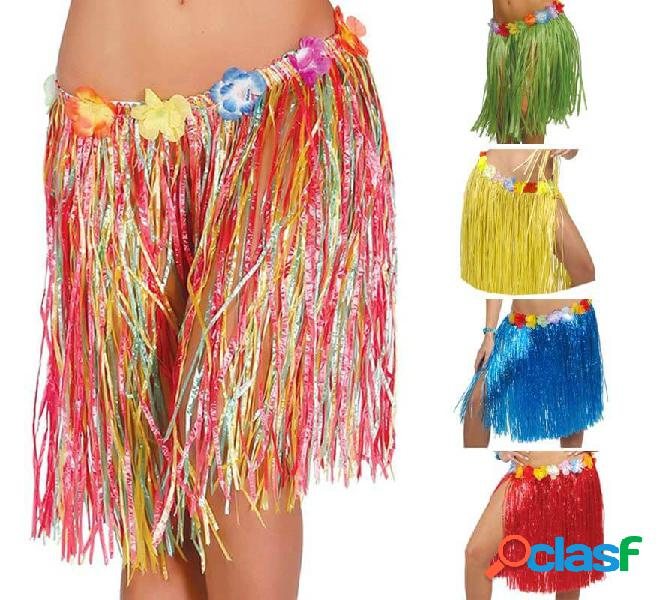 Gonna hawaiana con fiori in vari colori 50 cm