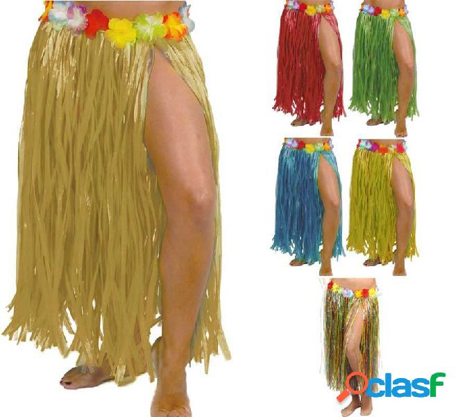 Gonna hawaiana con fiori in vari colori 75 cm