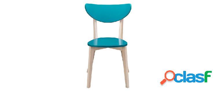 Gruppo di 2 sedie blu anatra - piedi in legno - LEENA