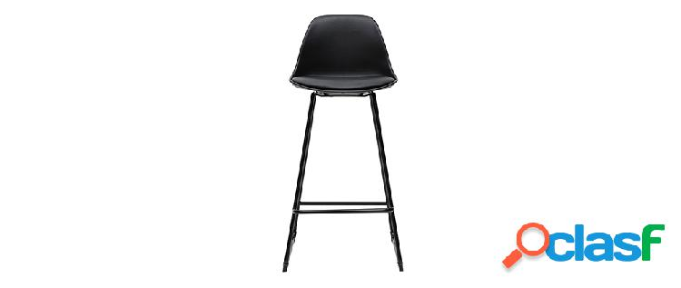 Gruppo di 2 sgabelli da bar design neri piedi metallo 65 cm