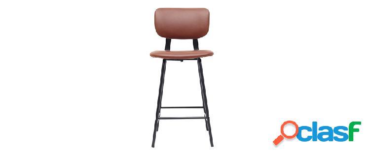 Gruppo di 2 sgabelli da bar vintage marrone chiaro con piedi