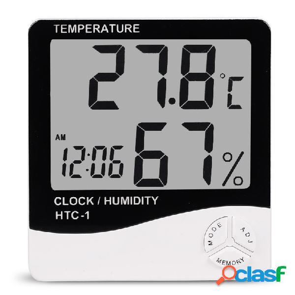 HTC-1 Digitale LCD elettronico sveglia termometro igrometro