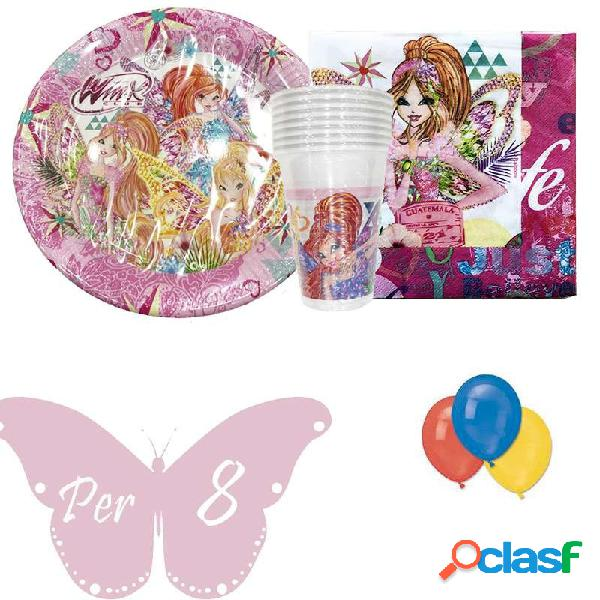 KIT N22 COORDINATO COMPLEANNO BAMBINA WINX CLUB BUTTERFLIX
