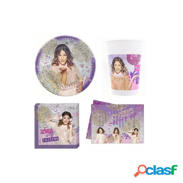 KIT N3 121 PZ COMPLEANNO BAMBINA VIOLETTA
