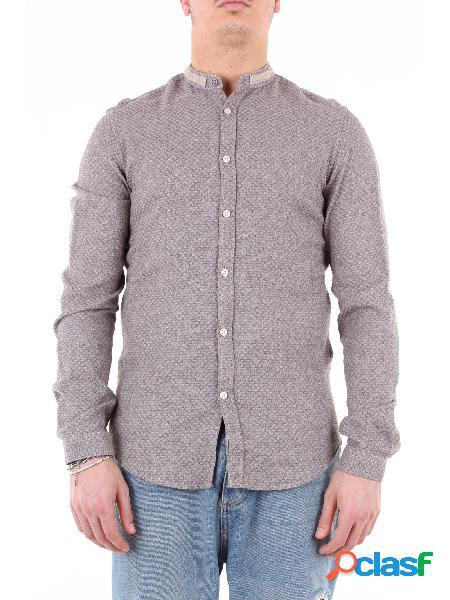 KOON koon camicia bicolore intrecciata con maniche lunghe