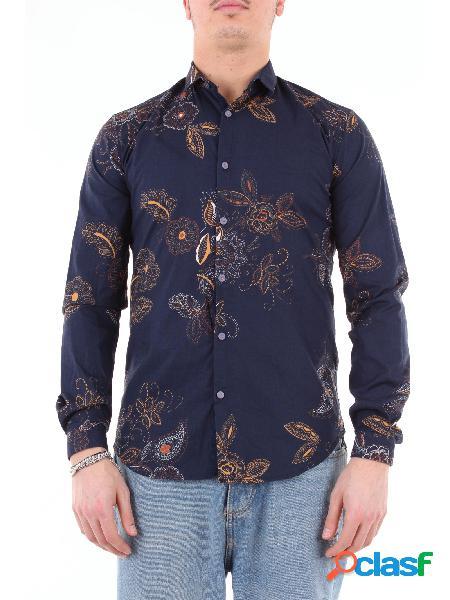 KOON koon camicia blu fantasia con maniche lunghe Camicie