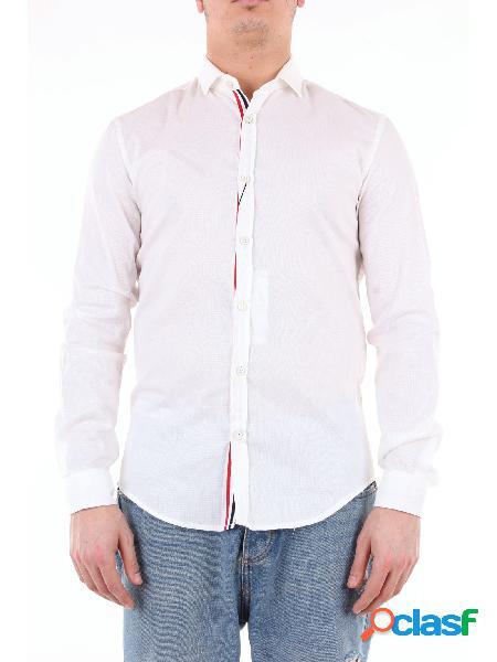 KOON koon camicia di colore bianco con banda multicolor