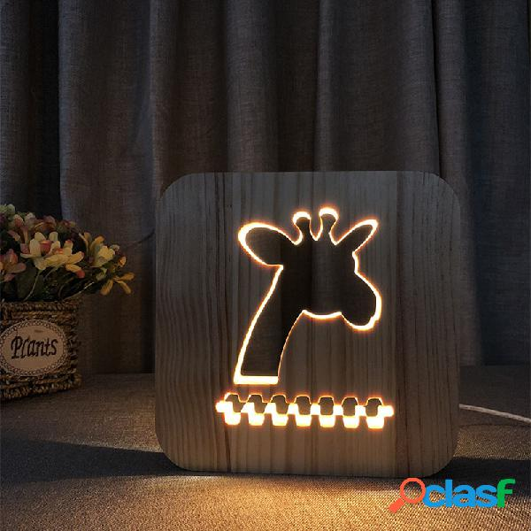 LED 3D Night Light Animal Wood Grain lampada Caricabatterie