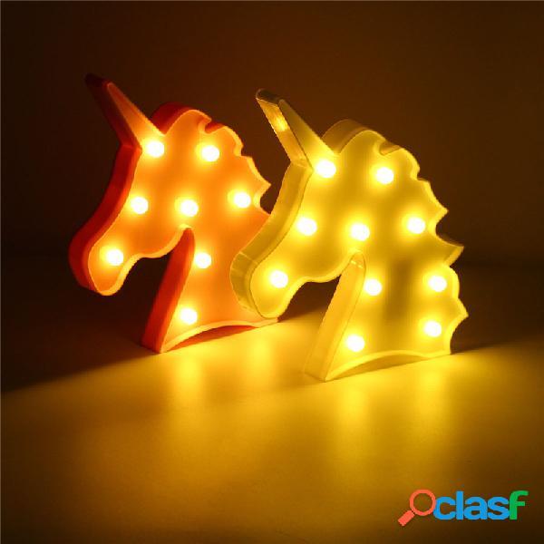 LED Lampada a Forma di Unicorno Carino da Parete Alimentata