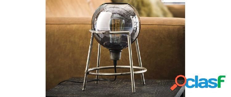 Lampada da tavolo metallo finiture argento antico con globo