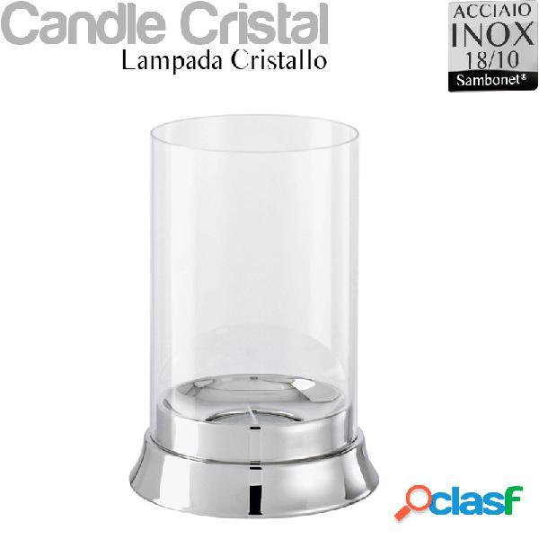 Lampada porta candele da tavolo in acciaio 18/10 linea