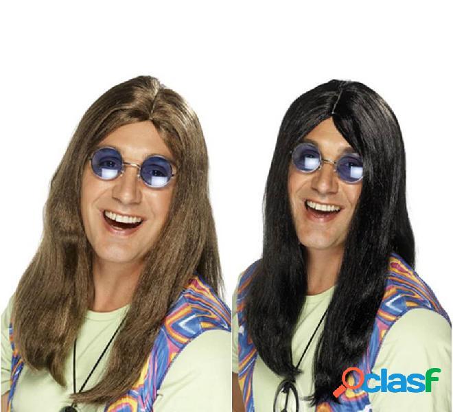 Lunga parrucca hippy con riga centrale per uomo in vari
