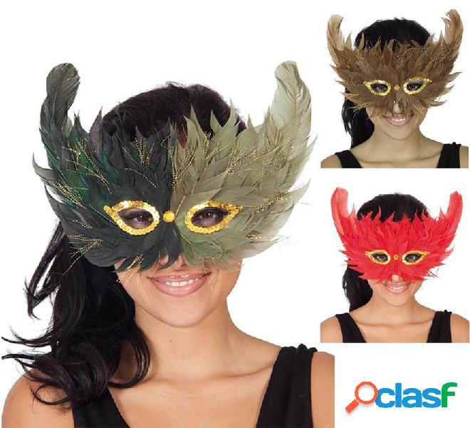 Maschera per gli occhi di piume in vari colori