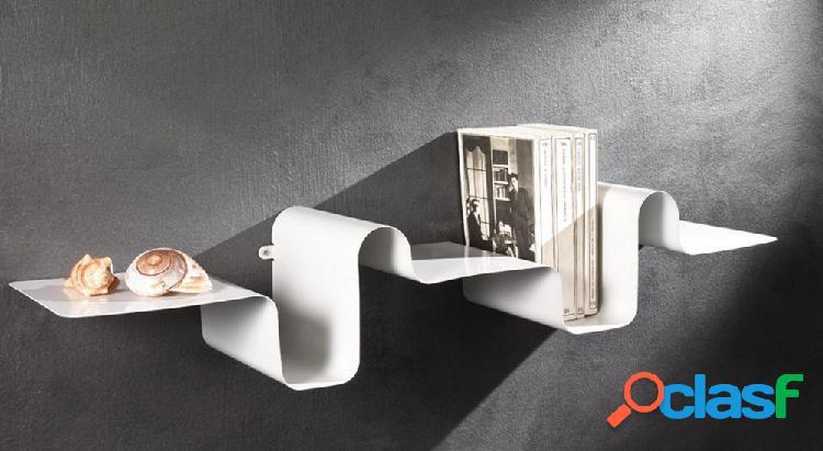 Mensola da Muro Moderna Onda in Metallo Bianco