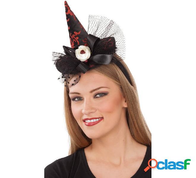 Mini cappello da strega nero e rosso con velo