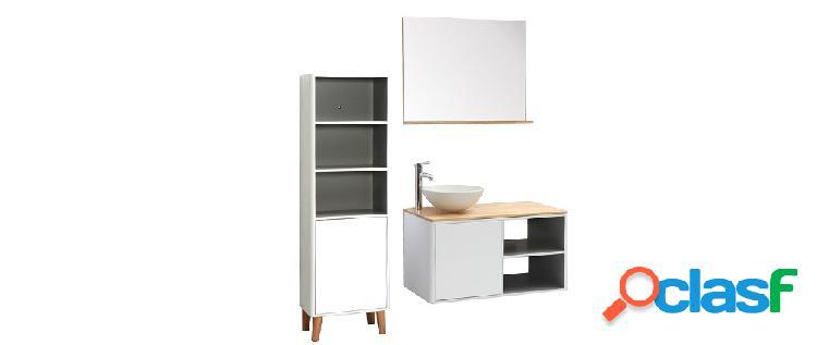 Mobile da bagno con colonna e specchio bianco e legno (senza