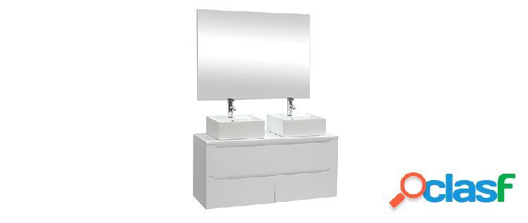 Mobile da bagno con specchio e cassetti bianchi (lavandini