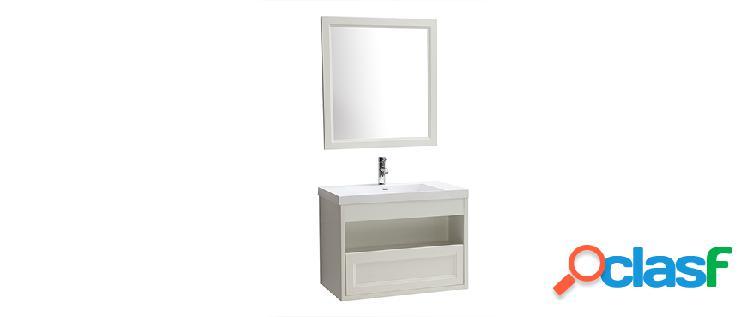 Mobiletto da bagno sospeso con vasca specchio e spazio per