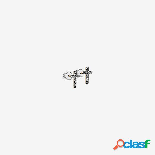Orecchini Jolie copriforo in argento con croce rivestita di