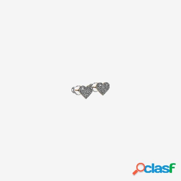 Orecchini Jolie copriforo in argento con cuore rivestito di