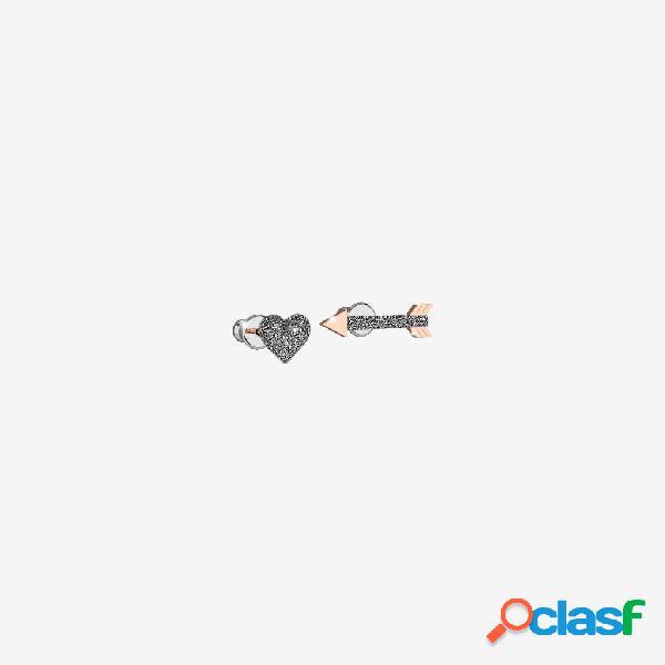 Orecchini Jolie copriforo in argento con freccia e cuore e