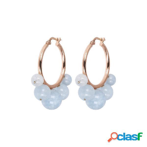 Orecchini a Cerchio con Perline in Pietra | ROSE GOLD /